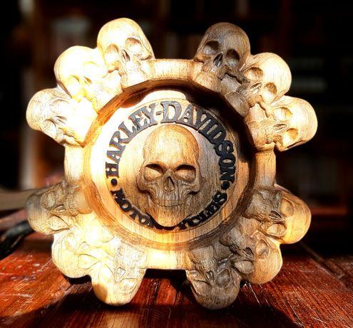 Cinzeiro Harley Davidson, vintage madeira pinho caveira
