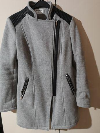 Płaszcz płaszczyk elegancki damski roz M 38 szary wstawki skórzane