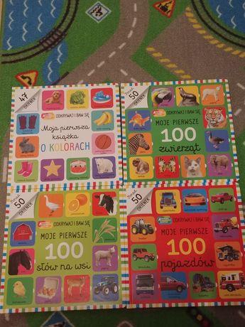 4 książki Moje pierwsze 100 zwierząt, pojazdów, słów na wsi, kolorów