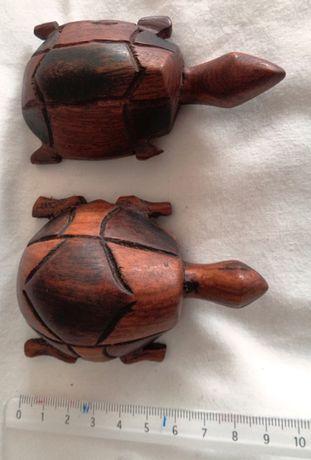 Tartarugas esculpidas em madeira maciça - Artesanato Africano