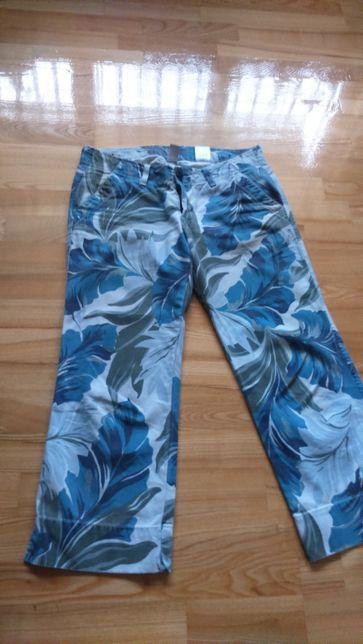 Spodnie dżins 3/4 wzorzyste liście turkus Lucky Brand 38-40