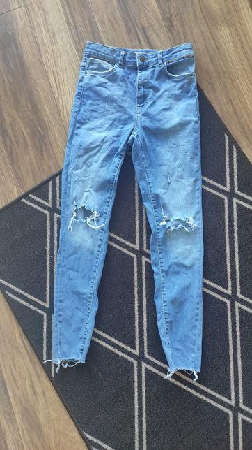Spodnie jeansy Zara slim XS S przetarcia dziury Boho pasek