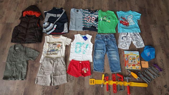 Zestaw, paka dla chłopca 3-4 lata, rozmiar 98-104, 12 szt + 2 czapki