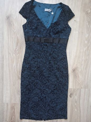 Bellezza 36-38 sukienka koronkowa czekoladowo turkusowa