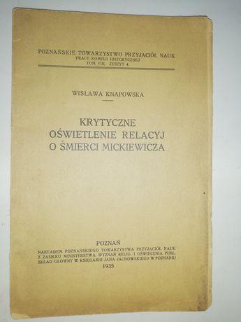 Wisława Knapowska, Krytyczne oświetlenie relacyj o śmierci Mickiewicza