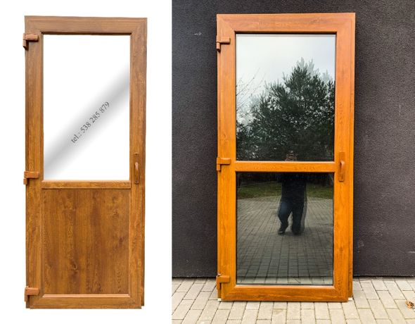Drzwi zewnętrzne PCV 110x210 złoty dąb SKLEPOWE BIUROWE * NOWE od reki