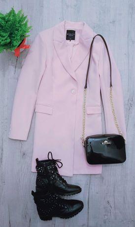 Mohito płaszcz płaszczyk wiosenny pudrowy róż różowy dopasowany/XS