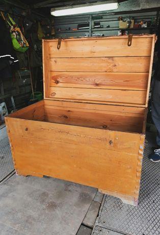 Skrzynia drewaniana kufer szafa walizka antyk prl