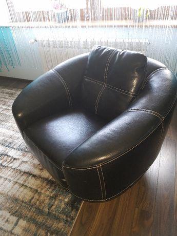 Fotel skórzany obrotowy - skóra naturalna + chrom