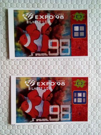 Dois bilhetes de entrada na Expo 98