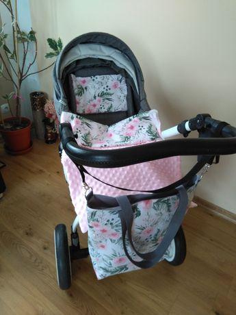 Komplet do wózka kocyk+ poduszka+ torebka