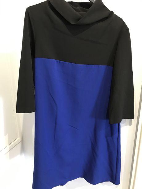 Vestido azul petroleo e preto