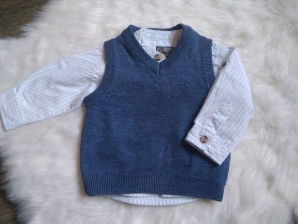 Фирменная белая рубашка+жилетка Cool Club 62 р. 3-6-9 мес.