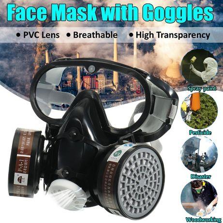 Półmaska 3 w jednym (maska+filtry węglowe+okulary)