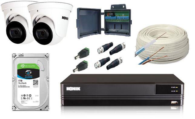 Podstawowy monitoring w sklepie zestaw Kenik 2 kamery Full HD