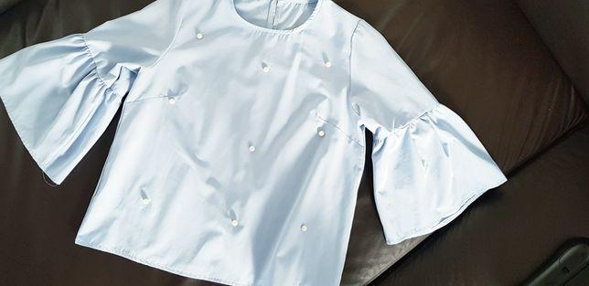 Niebieska koszula perełki M