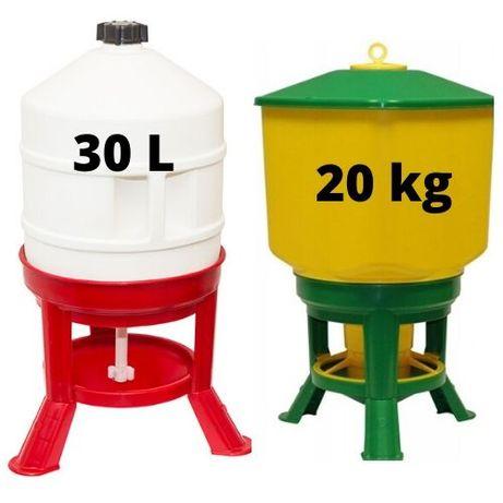 Poidło i karmidło dla drobiu kur gęsi kaczek 30L + 20 KG ZESTAW