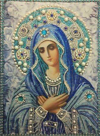 Rękodzieło obraz religijny Matka Boska Maryja diametowy haft