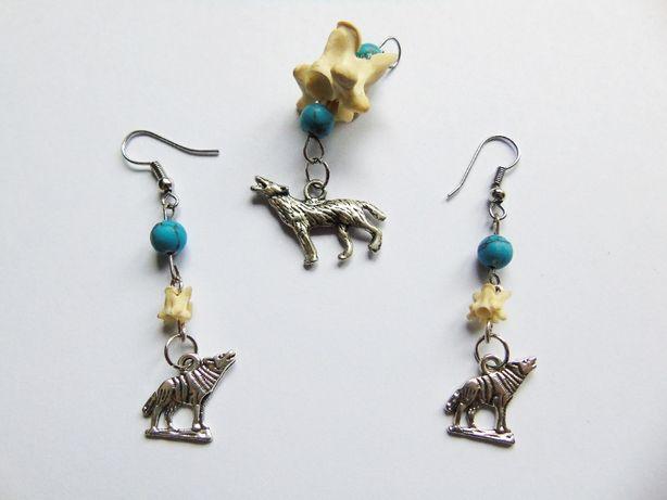 Komplet biżuterii w stylu witchy kolczyki i zawieszka srebrne wilki