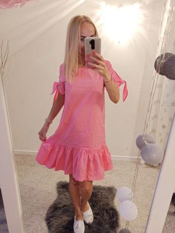 Różowa sukienka Reserved rozmiar 34 XS falbanka