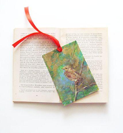 ptaszki zakładka do ksiązki, zakładka z ptakami, ptaki zakładka do ksi