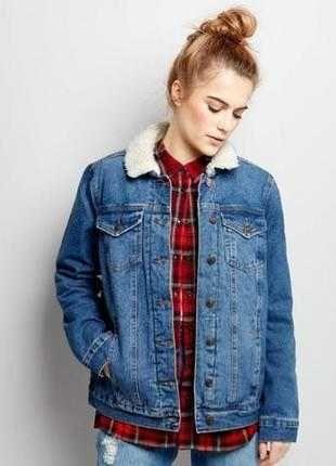 Джинсовая шерпа Denim Co куртка теплая джинс