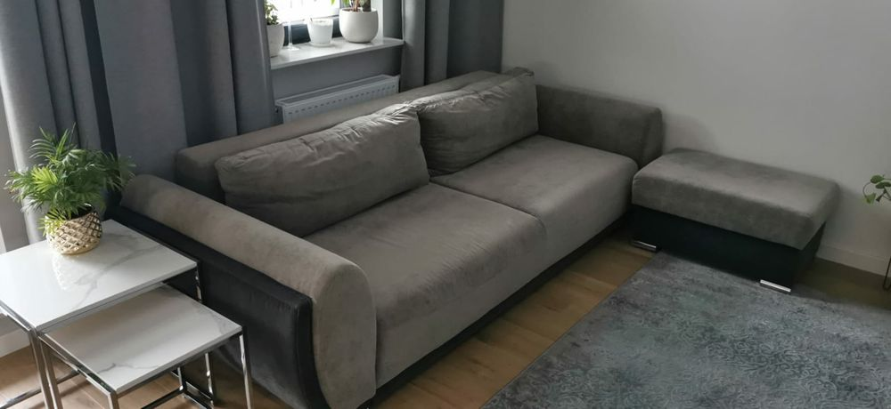 Kanapa sofa rozkładana, 260x107x73 +pufa Warszawa - image 1