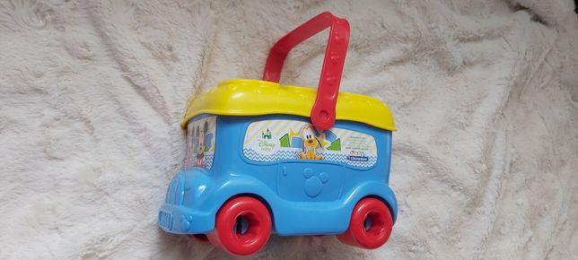 Clementoni, Autobus Baby Mickey, pojazd z klockami, sorter, zabawka.