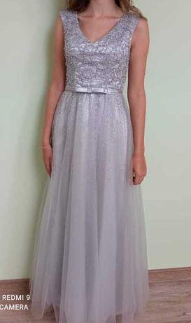 Suknia srebrna wieczorowa wesele 18stka