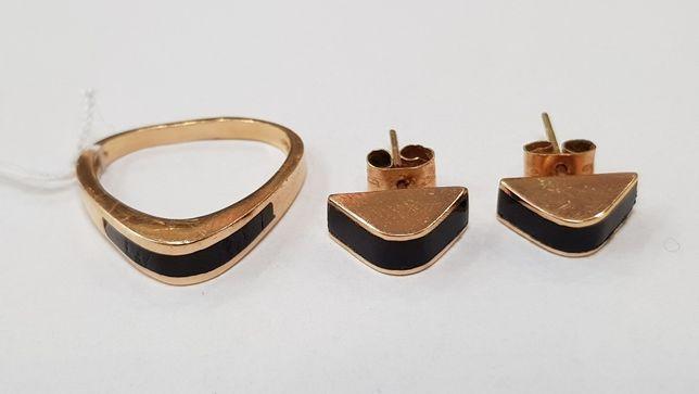 Komplet! Pierścionek R10 + kolczyki/ Złoto 585/ 5.2 gram/ sklep Gdynia