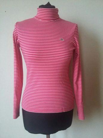 Oryginalny golf Lacoste. Różowe paski. Stan idealny