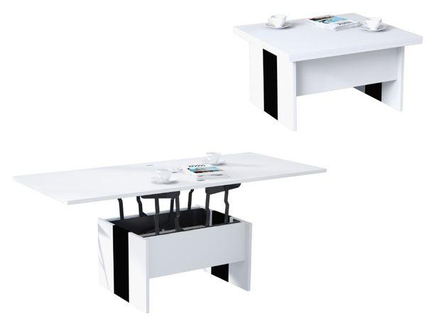 SOLO Biały/Czarny - ŁAWA rozkładana do salonu STÓŁ ŁAWOSTÓŁ Mazzoni