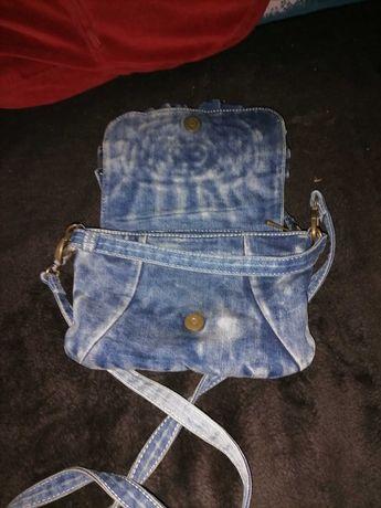 Torebka Blue Jeans Prawdziwy Dżins Nowa KWIATEK
