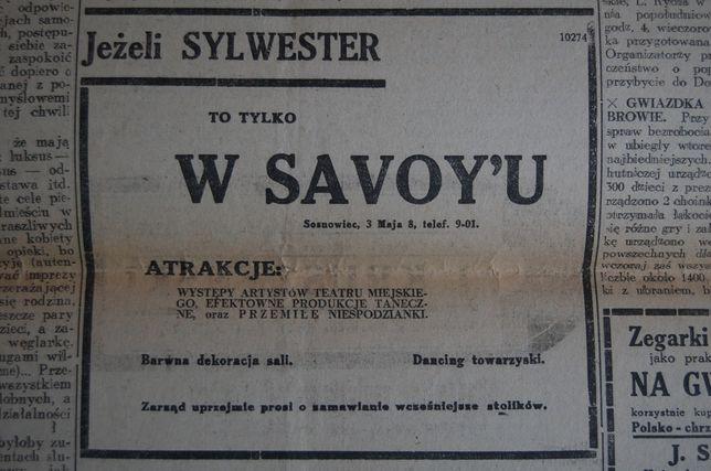 Przedwojenne artykuły prasowe o Sosnowcu. Ogłoszenia, reklamy prasowe.