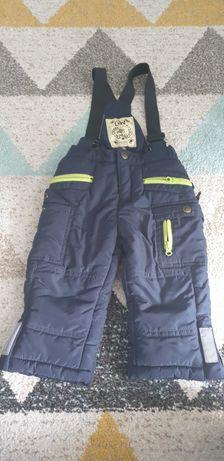 Spodnie ocieplane narciarskie, rozm. 80 dla chlopca odblaski