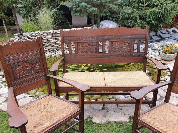 antyki komplet zestaw ława fotel krzesło stylowy