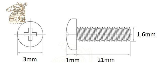 Śruba M1.6, długość 22mm, grubość 1,6mm, stal nierdzewna 304, krzyżowy