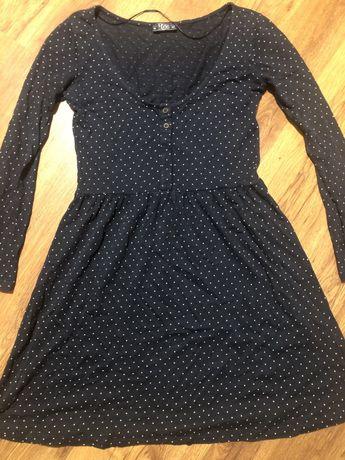 Granatowa sukienka w groszki Pull&Bear rozmiar M