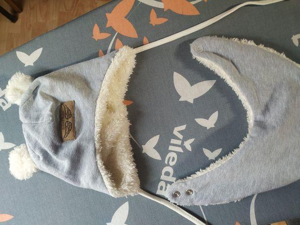 Czapka+apaszka niemowlęca ocieplana 62 obwód 38-40