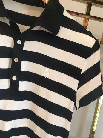 Oryginalna bluzka Ralph lauren XL paski czarne polo bawełna damska
