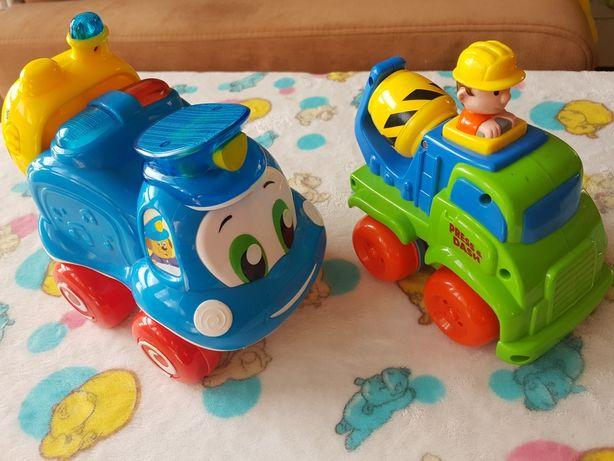 2 x auta betoniarka Smiki Clementoni radiowóz Tomek zabawki pojazdy
