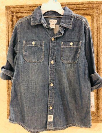Carter's Рубашка Джинсовая с вышивкой на пуговицах 5 t Мальчик США