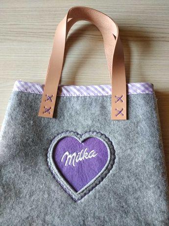 NOWA torba torebka / miły szary filc + serduszko fioletowe skóra uszy
