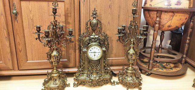 Wielki zegar kominkowy z kandelabrami mosiądz XIX wiek