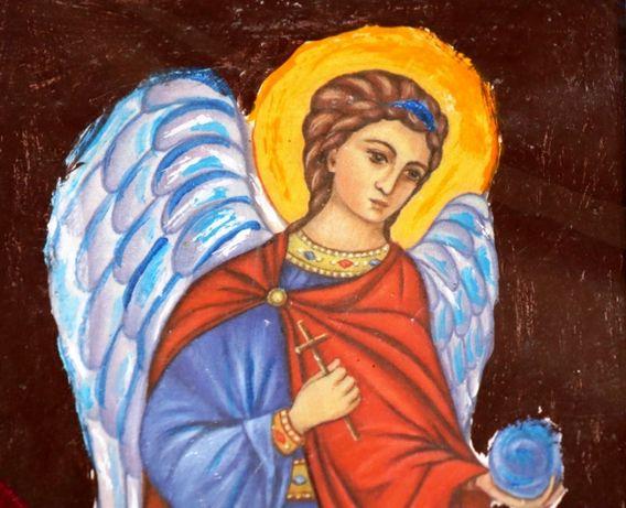 Anioły reprodukcja na drewnie anioł