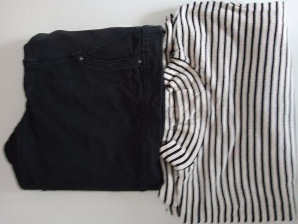 Spodnie ciążowe H&M r.42 ,bluzka polgolf ciążowy r.40