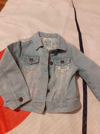 Piękna kurteczka jeansowa z koronką rozmiar 98 dla dziewczynki GRATIS