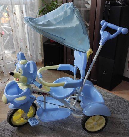 Dziecięcy rowerek trójkołowy z pałąkiem do pchania