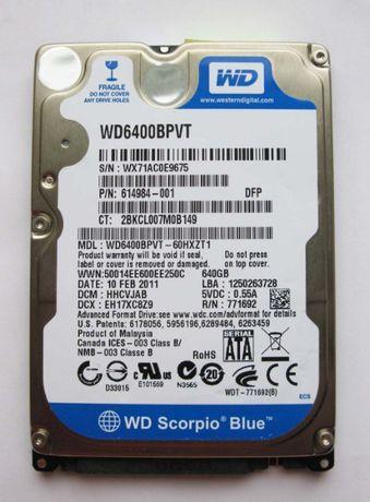 2.5 WD Blue 640Gb SATA2 (Новый, для нoутбука)