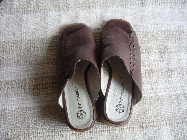 Sandálias pele castanha semi ortopédica marca Farmisuave medida 36